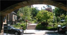 through the archway to Palmer Square